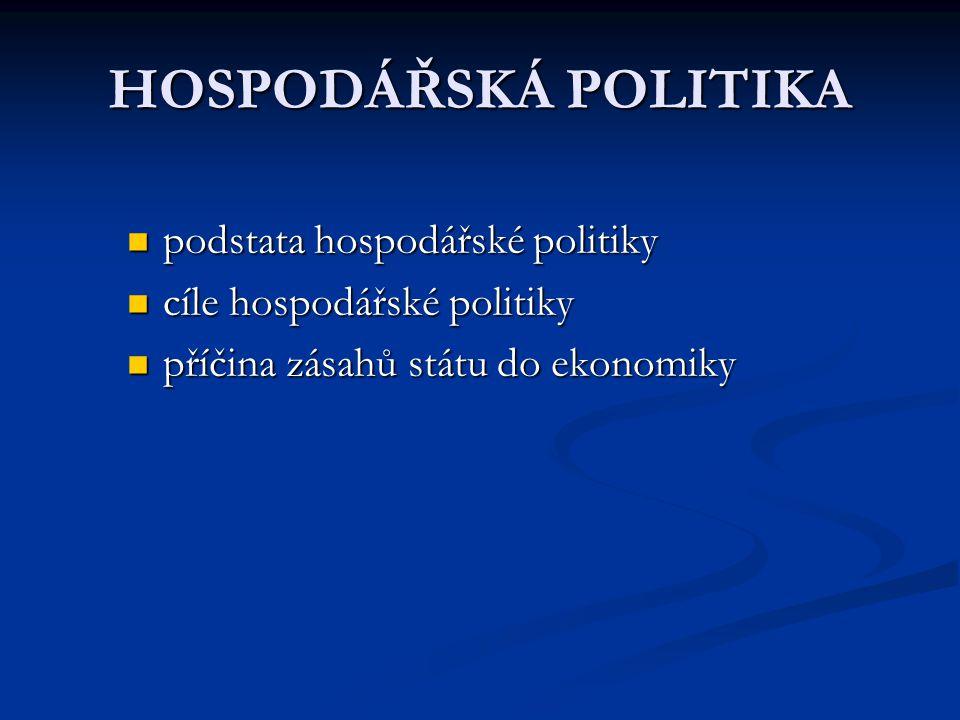 HOSPODÁŘSKÁ POLITIKA podstata hospodářské politiky podstata hospodářské politiky cíle hospodářské politiky cíle hospodářské politiky příčina zásahů státu do ekonomiky příčina zásahů státu do ekonomiky
