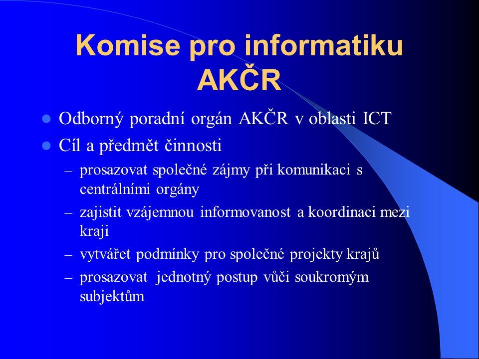 Komise pro informatiku AKČR Odborný poradní orgán AKČR v oblasti ICT Cíl a předmět činnosti – prosazovat společné zájmy při komunikaci s centrálními orgány – zajistit vzájemnou informovanost a koordinaci mezi kraji – vytvářet podmínky pro společné projekty krajů – prosazovat jednotný postup vůči soukromým subjektům