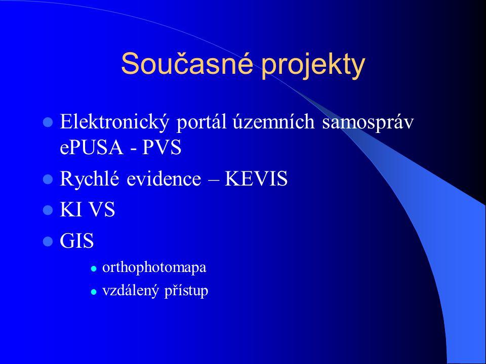 Současné projekty Elektronický portál územních samospráv ePUSA - PVS Rychlé evidence – KEVIS KI VS GIS orthophotomapa vzdálený přístup