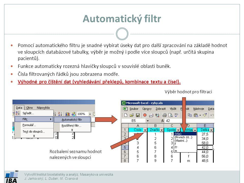 Vytvořil Institut biostatistiky a analýz, Masarykova univerzita J. Jarkovský, L. Dušek, M. Cvanová Automatický filtr Pomocí automatického filtru je sn