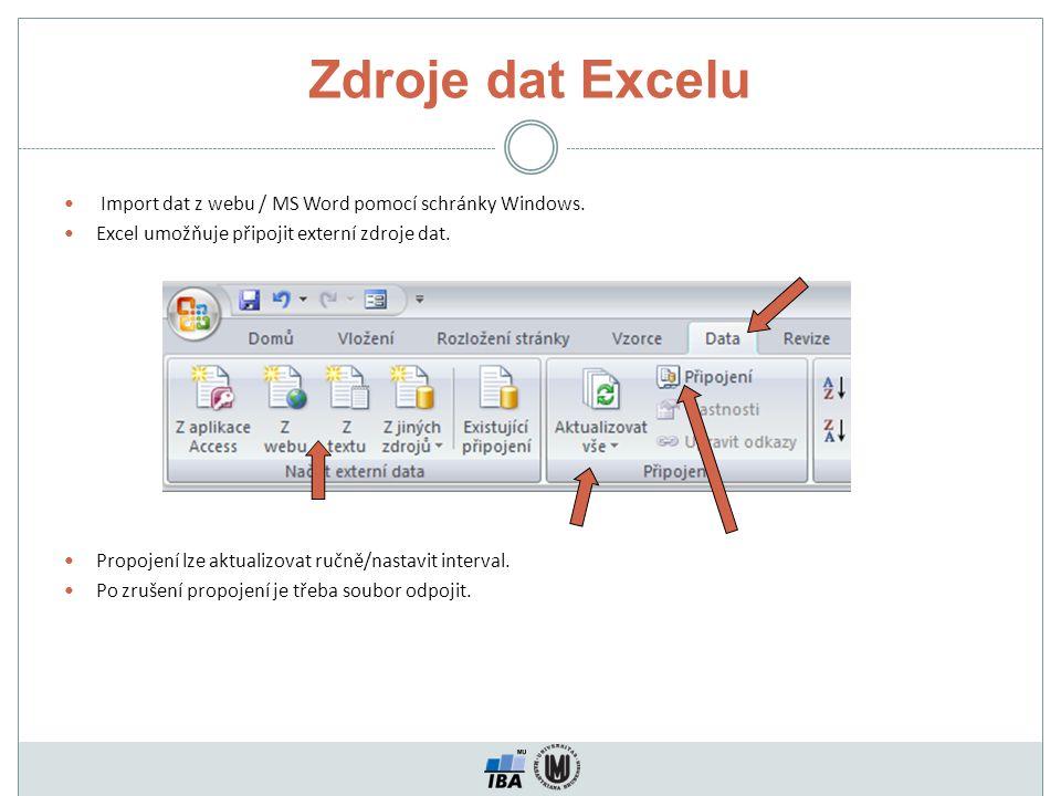 Zdroje dat Excelu Import dat z webu / MS Word pomocí schránky Windows. Excel umožňuje připojit externí zdroje dat. Propojení lze aktualizovat ručně/na
