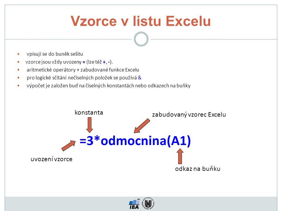 Vzorce v listu Excelu vpisují se do buněk sešitu vzorce jsou vždy uvozeny = (lze též +, -). aritmetické operátory + zabudované funkce Excelu pro logic
