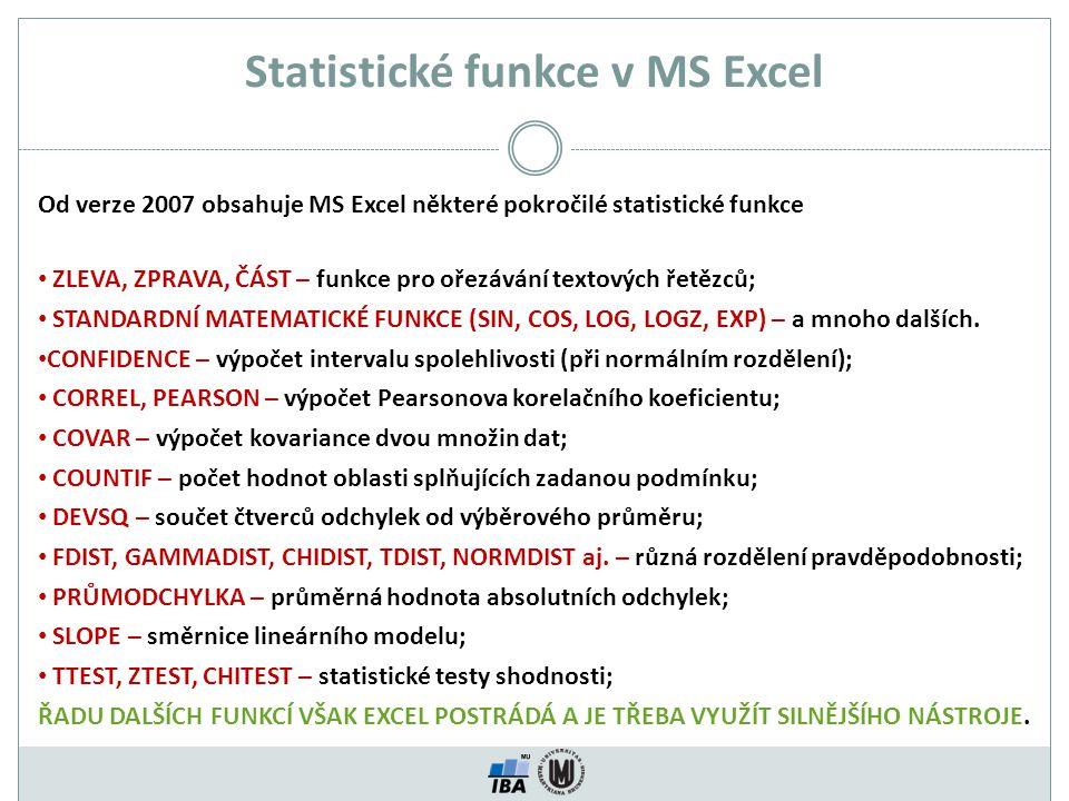 Statistické funkce v MS Excel Od verze 2007 obsahuje MS Excel některé pokročilé statistické funkce ZLEVA, ZPRAVA, ČÁST – funkce pro ořezávání textovýc