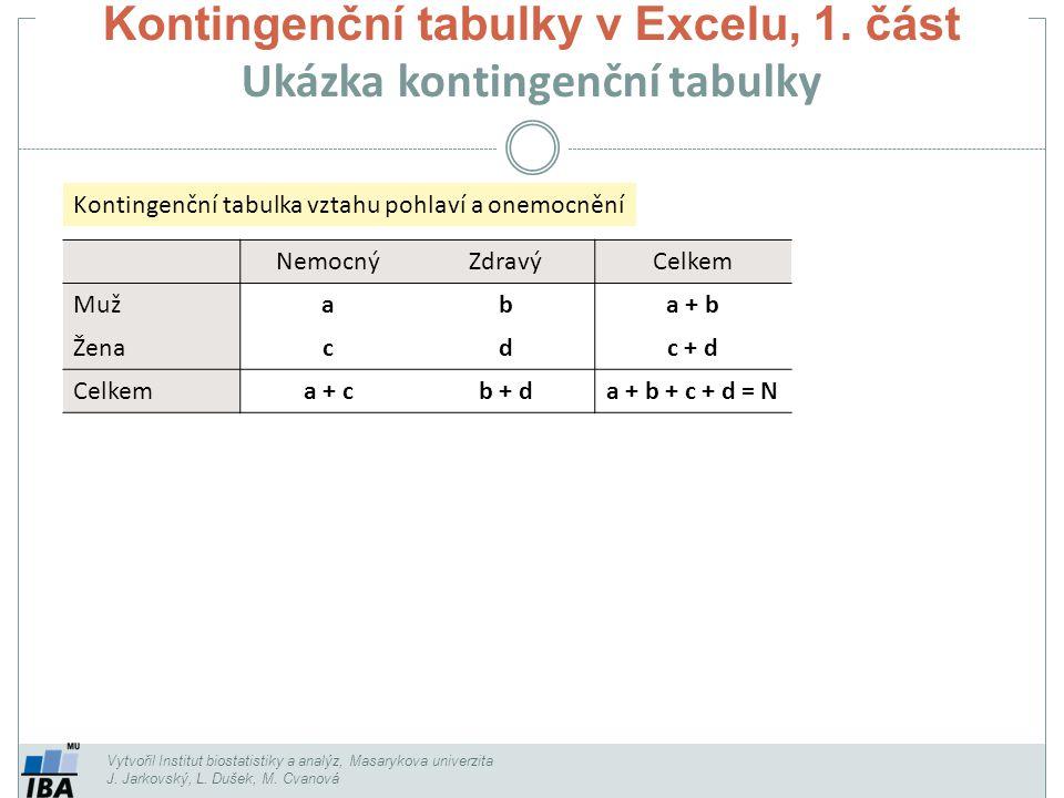 Kontingenční tabulky v Excelu, 1. část Ukázka kontingenční tabulky Vytvořil Institut biostatistiky a analýz, Masarykova univerzita J. Jarkovský, L. Du
