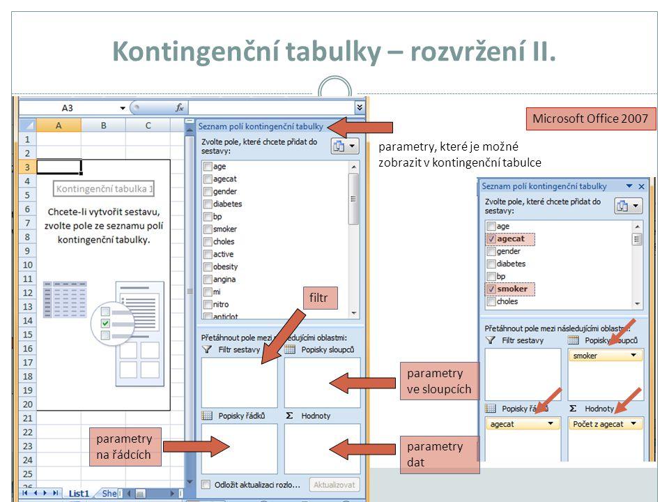 Kontingenční tabulky – rozvržení II. Microsoft Office 2007 parametry na řádcích parametry dat parametry ve sloupcích parametry, které je možné zobrazi