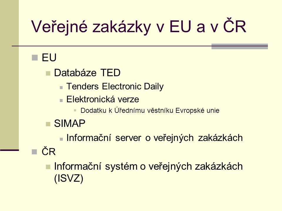 Veřejné zakázky v EU a v ČR EU Databáze TED Tenders Electronic Daily Elektronická verze  Dodatku k Úřednímu věstníku Evropské unie SIMAP Informační s