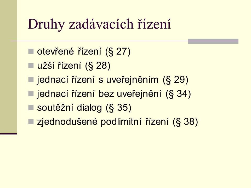 Druhy zadávacích řízení otevřené řízení (§ 27) užší řízení (§ 28) jednací řízení s uveřejněním (§ 29) jednací řízení bez uveřejnění (§ 34) soutěžní di