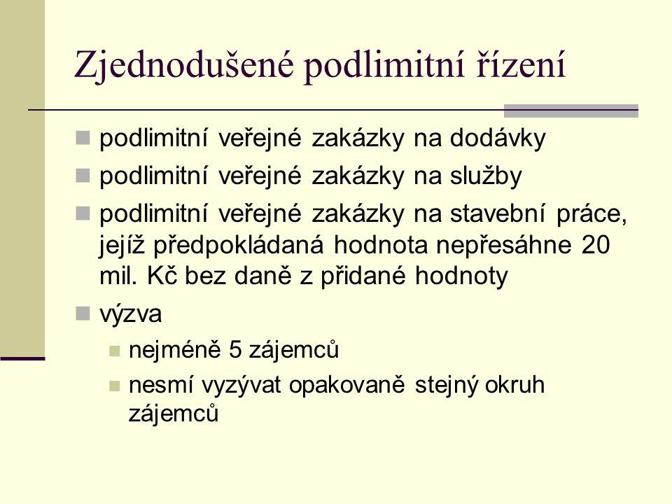 Zjednodušené podlimitní řízení podlimitní veřejné zakázky na dodávky podlimitní veřejné zakázky na služby podlimitní veřejné zakázky na stavební práce