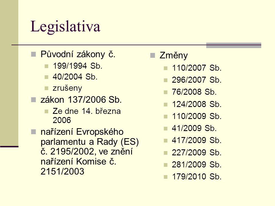 Legislativa Původní zákony č. 199/1994 Sb. 40/2004 Sb. zrušeny zákon 137/2006 Sb. Ze dne 14. března 2006 nařízení Evropského parlamentu a Rady (ES) č.