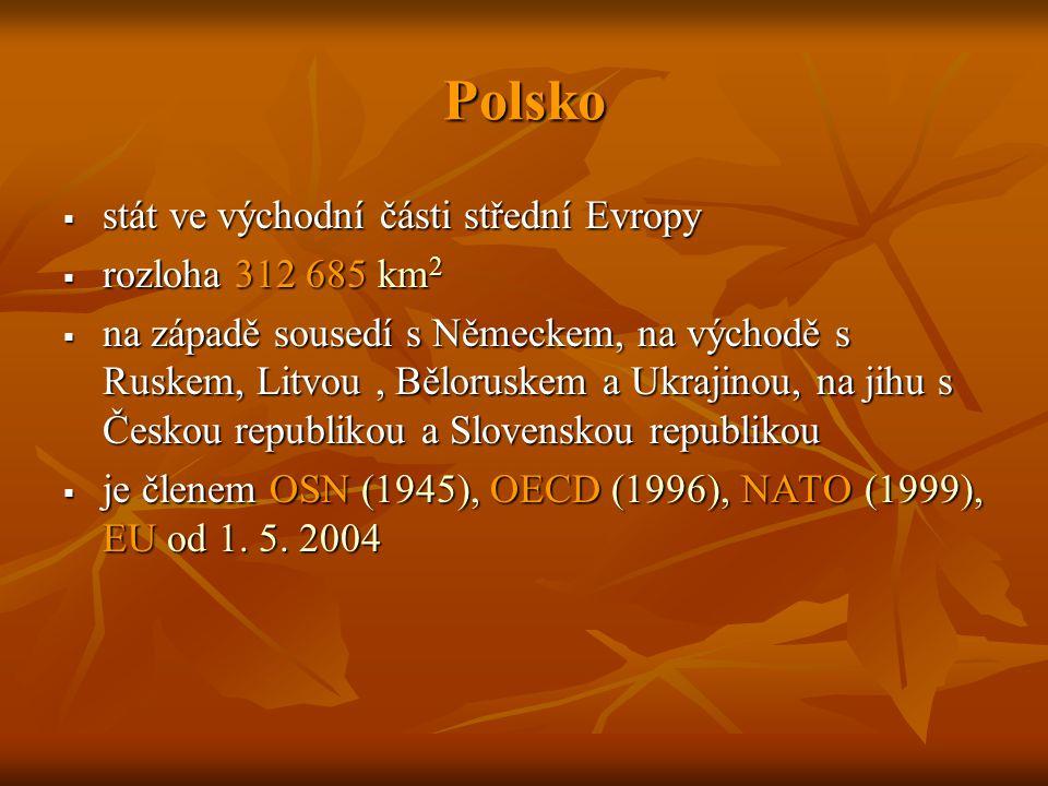 Polsko  stát ve východní části střední Evropy  rozloha 312 685 km 2  na západě sousedí s Německem, na východě s Ruskem, Litvou, Běloruskem a Ukrajinou, na jihu s Českou republikou a Slovenskou republikou  je členem OSN (1945), OECD (1996), NATO (1999), EU od 1.