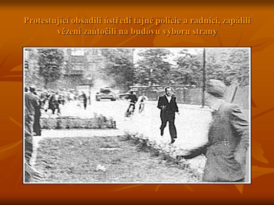 Protestující obsadili ústředí tajné policie a radnici, zapálili vězení zaútočili na budovu výboru strany