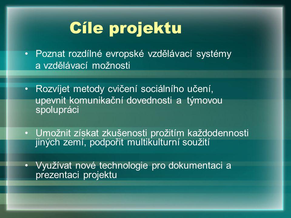 Cíle projektu Poznat rozdílné evropské vzdělávací systémy a vzdělávací možnosti Rozvíjet metody cvičení sociálního učení, upevnit komunikační dovednos
