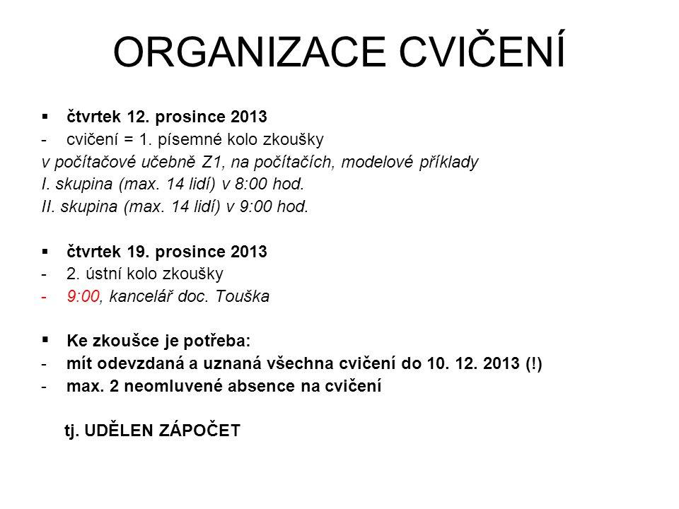 ORGANIZACE CVIČENÍ  čtvrtek 12. prosince 2013 -cvičení = 1.