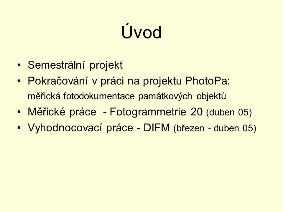 Úvod Semestrální projekt Pokračování v práci na projektu PhotoPa: měřická fotodokumentace památkových objektů Měřické práce - Fotogrammetrie 20 (duben