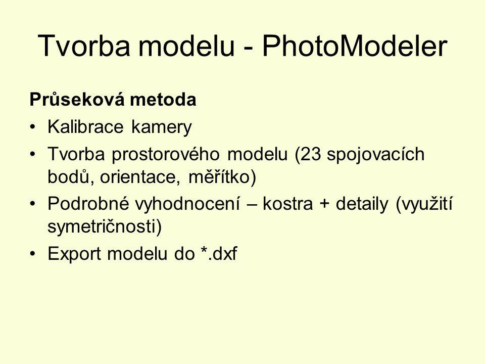 Tvorba modelu - PhotoModeler Průseková metoda Kalibrace kamery Tvorba prostorového modelu (23 spojovacích bodů, orientace, měřítko) Podrobné vyhodnoce