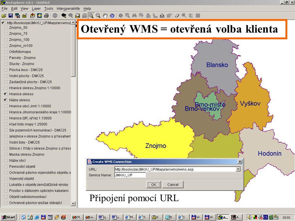 Otevřený WMS = otevřená volba klienta Připojení pomocí URL