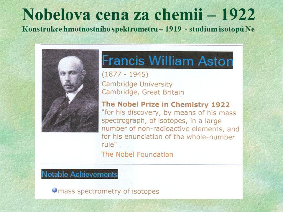 4 Nobelova cena za chemii – 1922 Konstrukce hmotnostního spektrometru – 1919 - studium isotopů Ne
