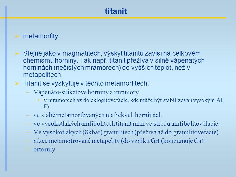 titanit  metamorfity  Stejně jako v magmatitech, výskyt titanitu závisí na celkovém chemismu horniny. Tak např. titanit přežívá v silně vápenatých h