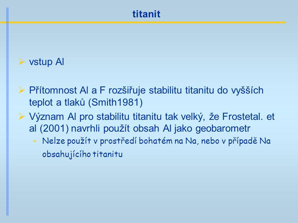 titanit  vstup Al  Přítomnost Al a F rozšiřuje stabilitu titanitu do vyšších teplot a tlaků (Smith1981)  Význam Al pro stabilitu titanitu tak velký