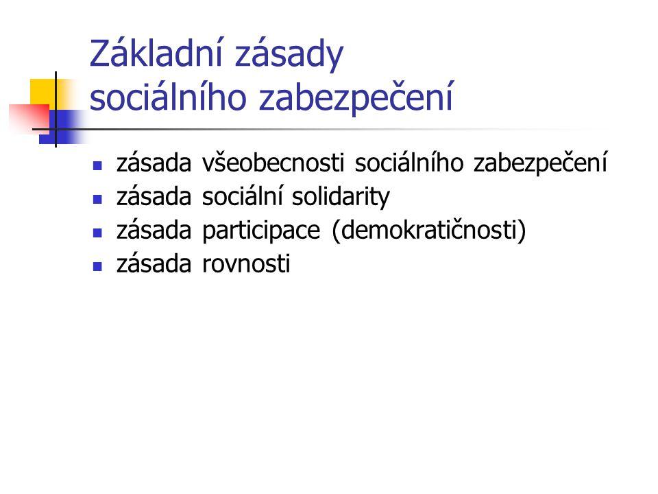 Základní zásady sociálního zabezpečení zásada všeobecnosti sociálního zabezpečení zásada sociální solidarity zásada participace (demokratičnosti) zása