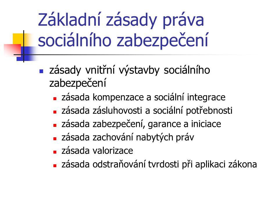 Základní zásady práva sociálního zabezpečení zásady vnitřní výstavby sociálního zabezpečení zásada kompenzace a sociální integrace zásada zásluhovosti