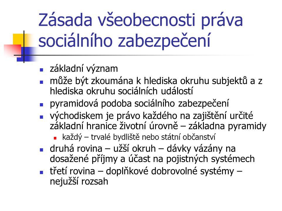 Zásada všeobecnosti práva sociálního zabezpečení základní význam může být zkoumána k hlediska okruhu subjektů a z hlediska okruhu sociálních událostí