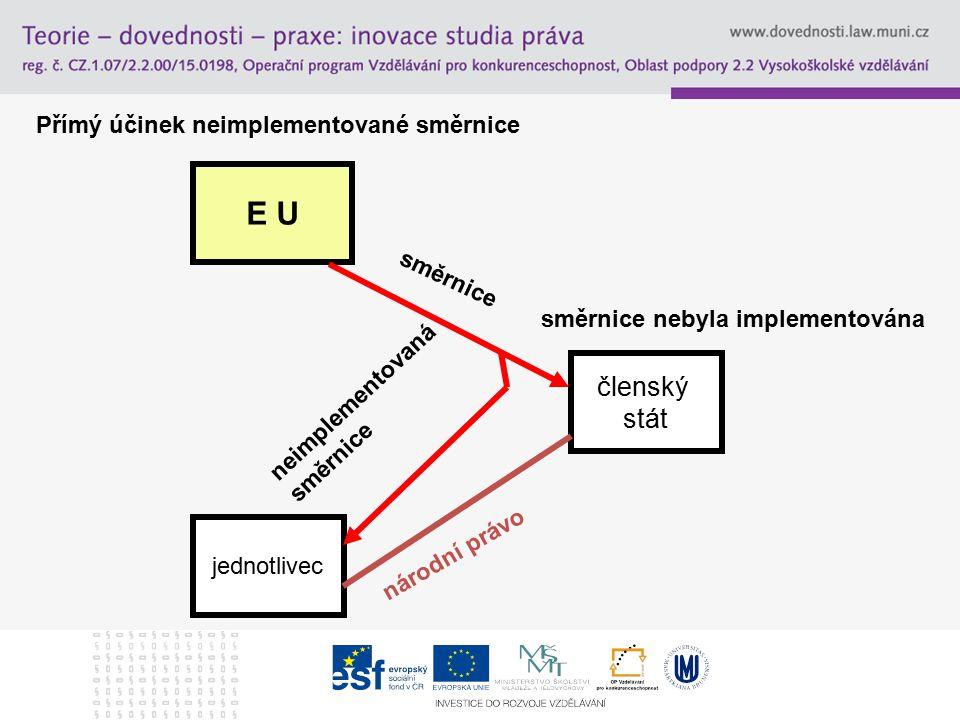E U jednotlivec členský stát směrnice národní právo směrnice nebyla implementována neimplementovaná směrnice Přímý účinek neimplementované směrnice