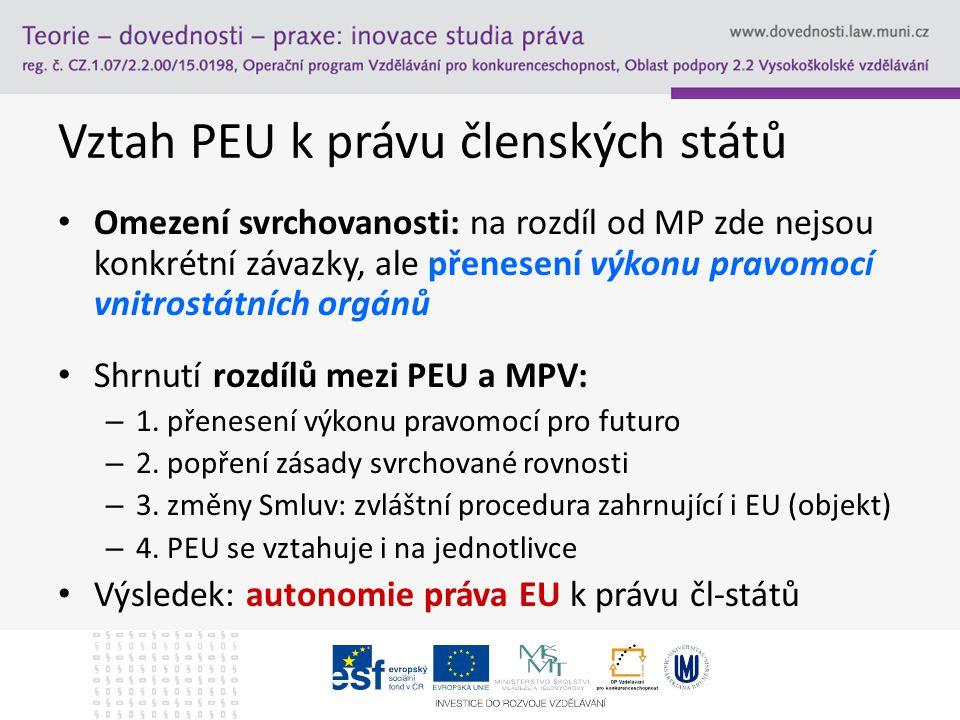 Vztah PEU k právu členských států Omezení svrchovanosti: na rozdíl od MP zde nejsou konkrétní závazky, ale přenesení výkonu pravomocí vnitrostátních o