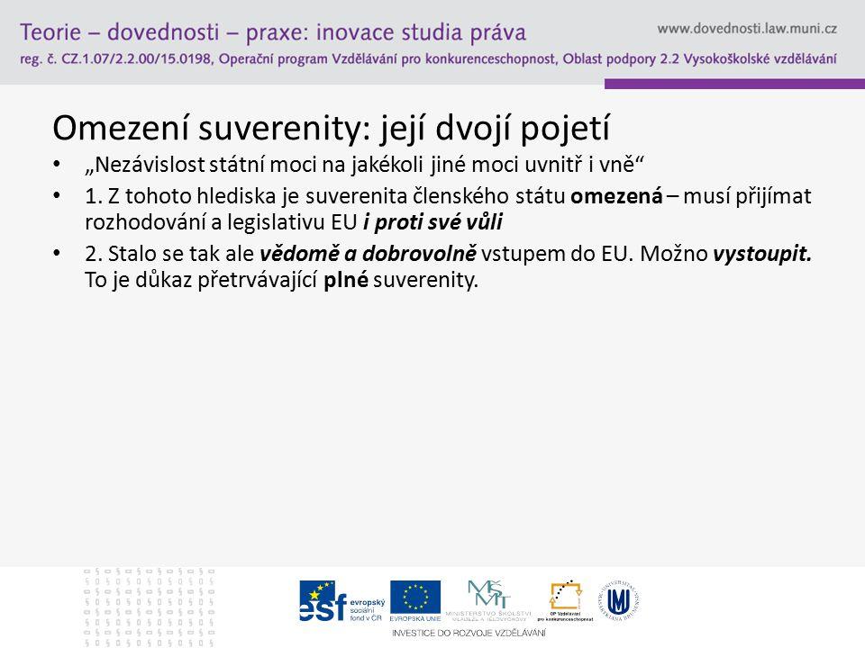 """Omezení suverenity: její dvojí pojetí """"Nezávislost státní moci na jakékoli jiné moci uvnitř i vně"""" 1. Z tohoto hlediska je suverenita členského státu"""