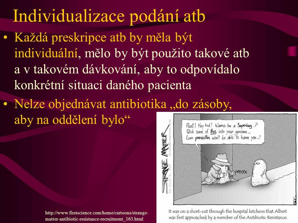 """Individualizace podání atb Každá preskripce atb by měla být individuální, mělo by být použito takové atb a v takovém dávkování, aby to odpovídalo konkrétní situaci daného pacienta Nelze objednávat antibiotika """"do zásoby, aby na oddělení bylo http://www.firstscience.com/home/cartoons/strange- matter-antibiotic-resistance-recruitment_163.html"""