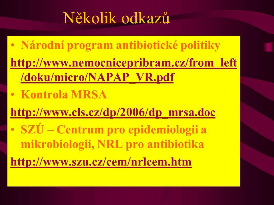 Několik odkazů Národní program antibiotické politiky http://www.nemocnicepribram.cz/from_left /doku/micro/NAPAP_VR.pdf Kontrola MRSA http://www.cls.cz/dp/2006/dp_mrsa.doc SZÚ – Centrum pro epidemiologii a mikrobiologii, NRL pro antibiotika http://www.szu.cz/cem/nrlcem.htm
