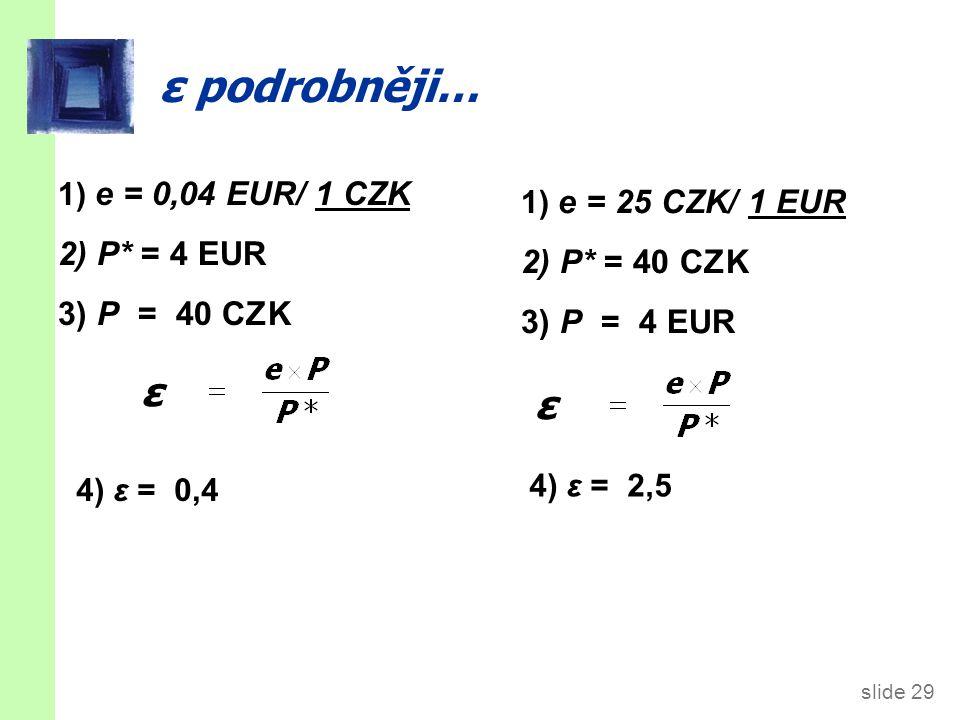 slide 29 ε podrobněji… 1) e = 0,04 EUR/ 1 CZK 2) P* = 4 EUR 3) P = 40 CZK ε 4) ε = 0,4 1) e = 25 CZK/ 1 EUR 2) P* = 40 CZK 3) P = 4 EUR ε 4) ε = 2,5
