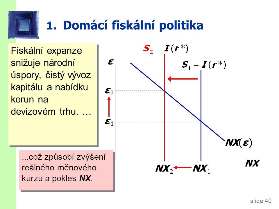slide 40 1. Domácí fiskální politika Fiskální expanze snižuje národní úspory, čistý vývoz kapitálu a nabídku korun na devizovém trhu. … … což způsobí