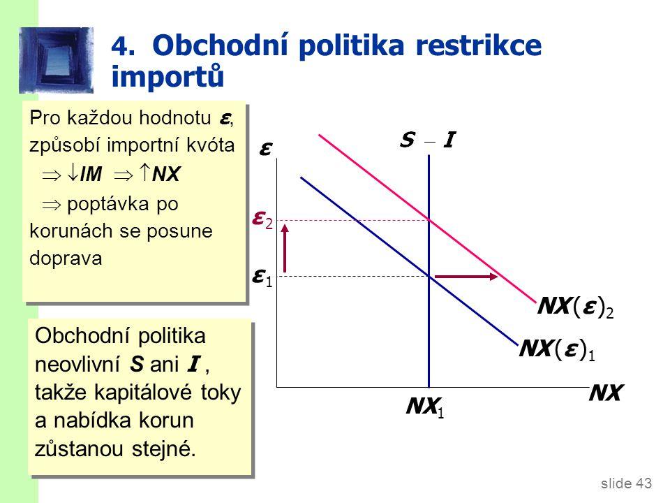 slide 43 4. Obchodní politika restrikce importů ε NX NX (ε ) 1 NX 1 ε 1ε 1 NX (ε ) 2 Pro každou hodnotu ε, způsobí importní kvóta  IM  NX  pop