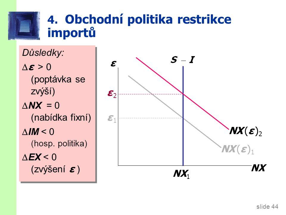 slide 44 4. Obchodní politika restrikce importů ε NX NX (ε ) 1 NX 1 ε 1ε 1 NX (ε ) 2 Důsledky:  ε  > 0 (poptávka se zvýší)  NX = 0 (nabídka fixní)