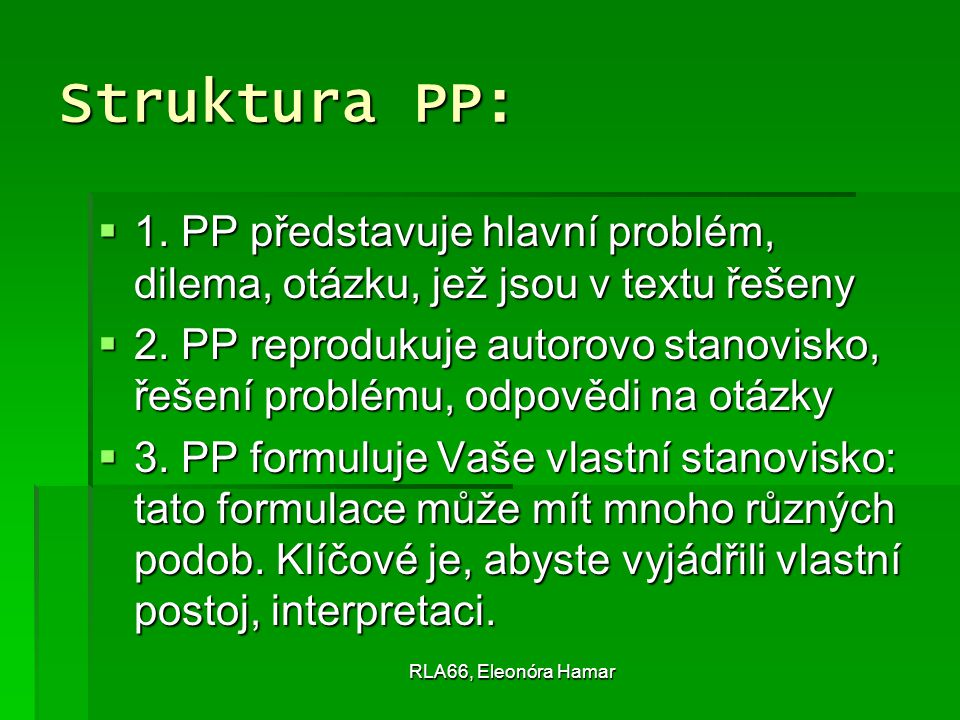 RLA66, Eleonóra Hamar Struktura PP:  1.
