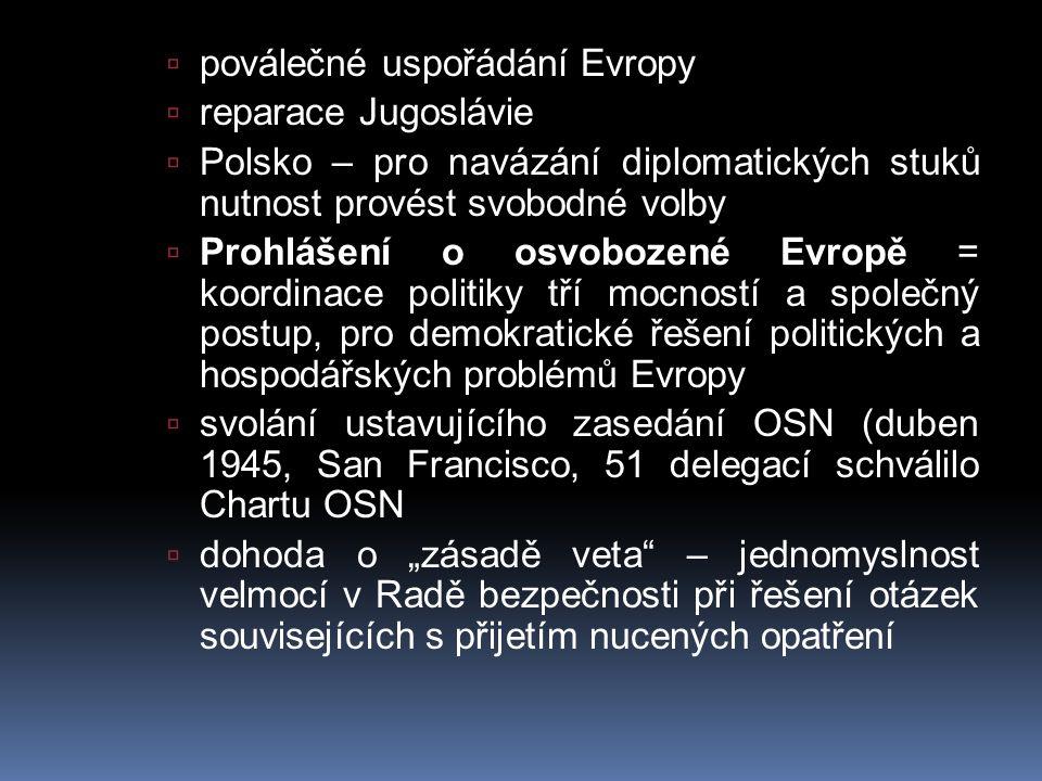  poválečné uspořádání Evropy  reparace Jugoslávie  Polsko – pro navázání diplomatických stuků nutnost provést svobodné volby  Prohlášení o osvoboz