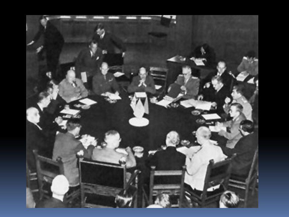  13 plenárních zasedání, předsedal Truman  hlavní cíl konference = nalezení dohody o poválečném uspořádání Evropy a zvláště Německa  dohoda o politických a ekonomických zásadách koordinované politiky spojenců vůči poraženému Německu (potvrdili dohody dosažené v Jaltě)  společná spojenecká politika vůči Německu bývá označována jako program 4 D - Demilitarizace, Denacifikace, Demokratizace, Demonopolizace Výsledky konference