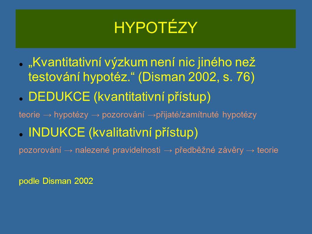 """HYPOTÉZY """"Kvantitativní výzkum není nic jiného než testování hypotéz."""" (Disman 2002, s. 76) DEDUKCE (kvantitativní přístup) teorie → hypotézy → pozoro"""