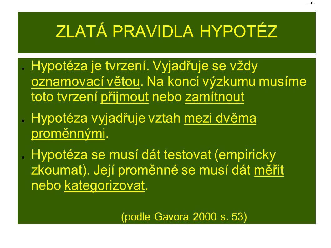 ZLATÁ PRAVIDLA HYPOTÉZ ● Hypotéza je tvrzení. Vyjadřuje se vždy oznamovací větou. Na konci výzkumu musíme toto tvrzení přijmout nebo zamítnout ● Hypot