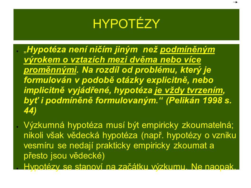 """HYPOTÉZY ● """"Hypotéza není ničím jiným než podmíněným výrokem o vztazích mezi dvěma nebo více proměnnými. Na rozdíl od problému, který je formulován v"""