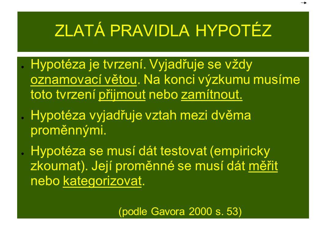 ZLATÁ PRAVIDLA HYPOTÉZ ● Hypotéza je tvrzení. Vyjadřuje se vždy oznamovací větou. Na konci výzkumu musíme toto tvrzení přijmout nebo zamítnout. ● Hypo