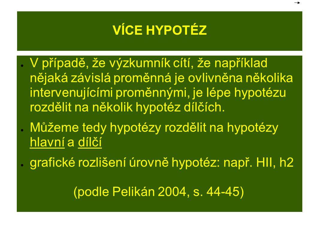 VÍCE HYPOTÉZ ● V případě, že výzkumník cítí, že například nějaká závislá proměnná je ovlivněna několika intervenujícími proměnnými, je lépe hypotézu rozdělit na několik hypotéz dílčích.