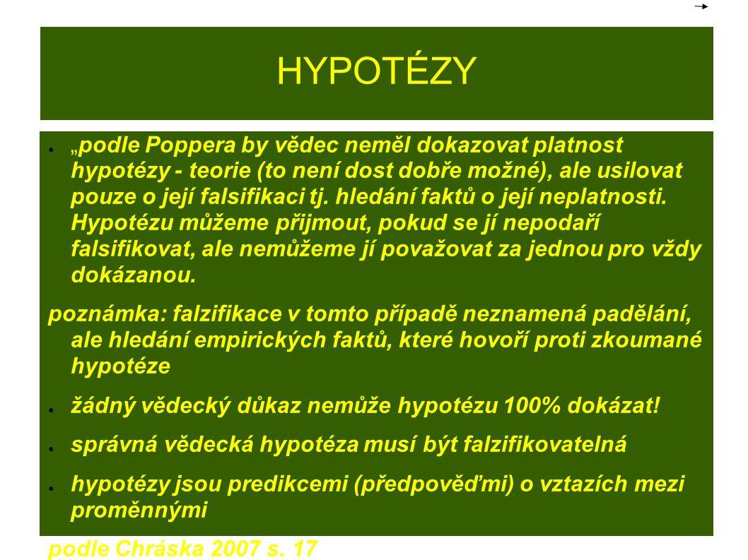 """HYPOTÉZY ● """"podle Poppera by vědec neměl dokazovat platnost hypotézy - teorie (to není dost dobře možné), ale usilovat pouze o její falsifikaci tj."""