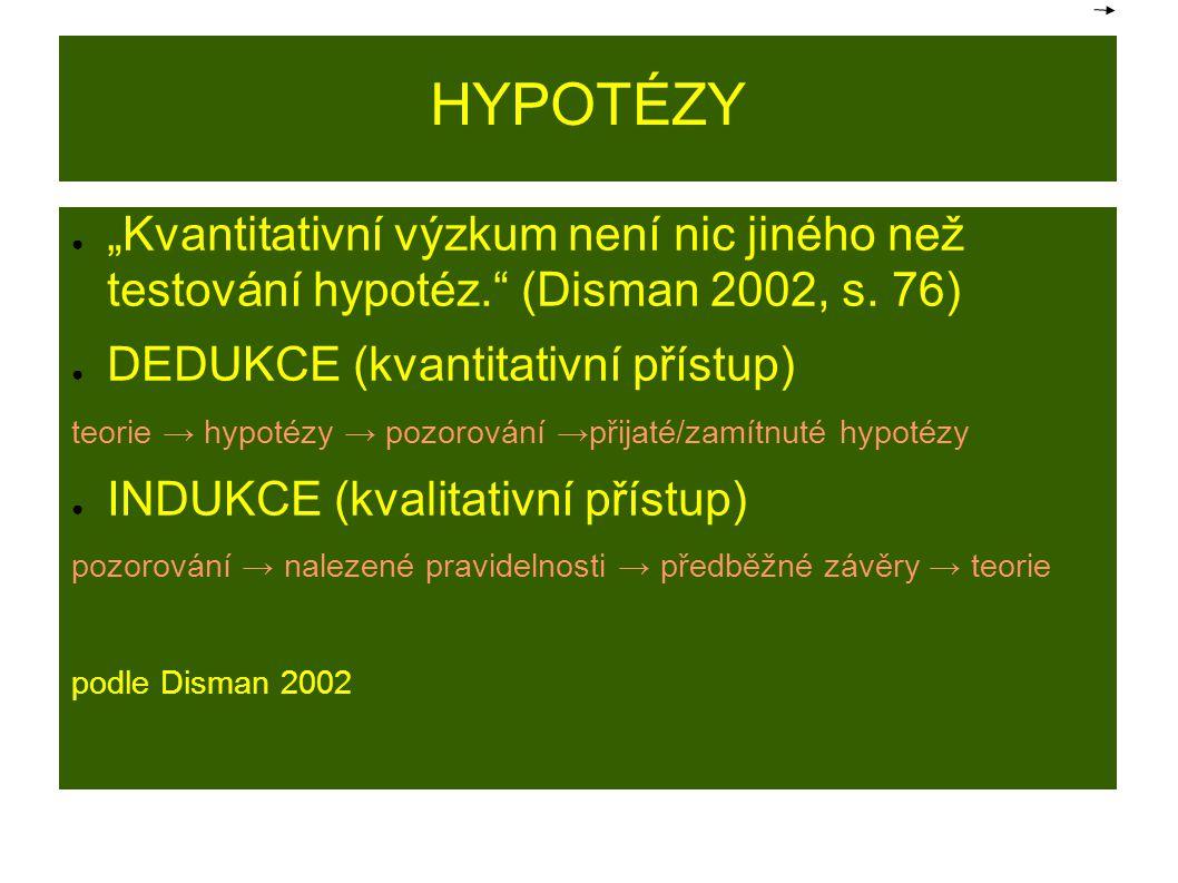 """HYPOTÉZY ● """"Kvantitativní výzkum není nic jiného než testování hypotéz."""" (Disman 2002, s. 76) ● DEDUKCE (kvantitativní přístup) teorie → hypotézy → po"""