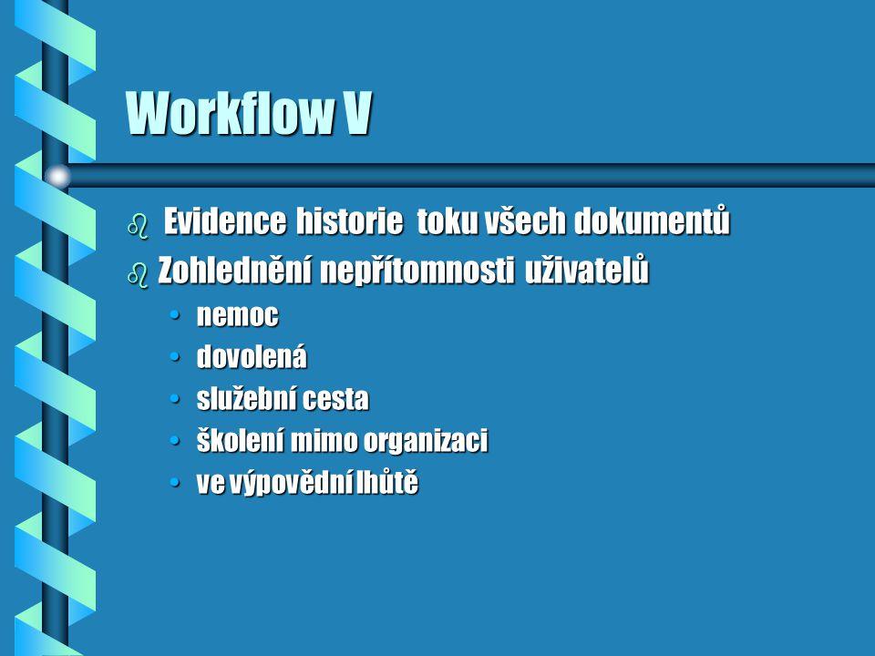 Workflow V b Evidence historie toku všech dokumentů b Zohlednění nepřítomnosti uživatelů nemocnemoc dovolenádovolená služební cestaslužební cesta školení mimo organizaciškolení mimo organizaci ve výpovědní lhůtěve výpovědní lhůtě