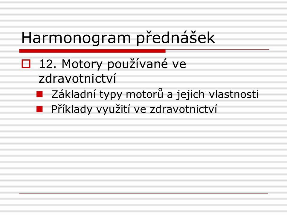 Harmonogram přednášek  1 2.