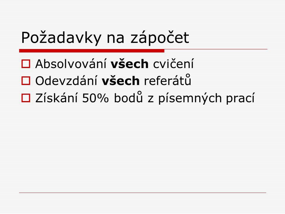 Požadavky na zápočet  Absolvování všech cvičení  Odevzdání všech referátů  Získání 50% bodů z písemných prací