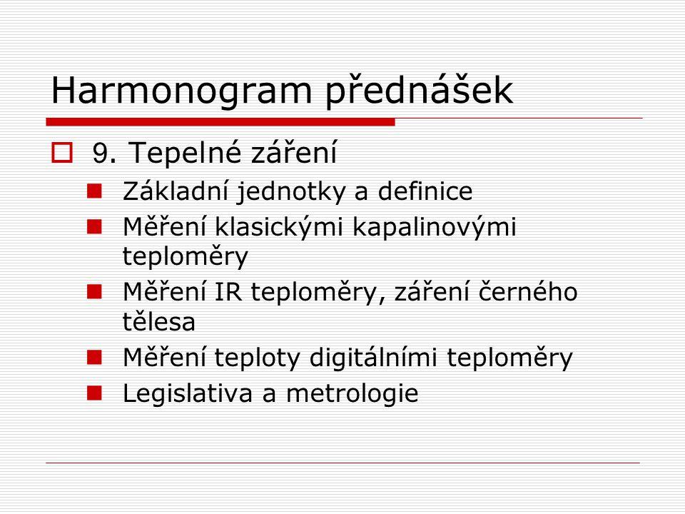 Harmonogram přednášek  9.