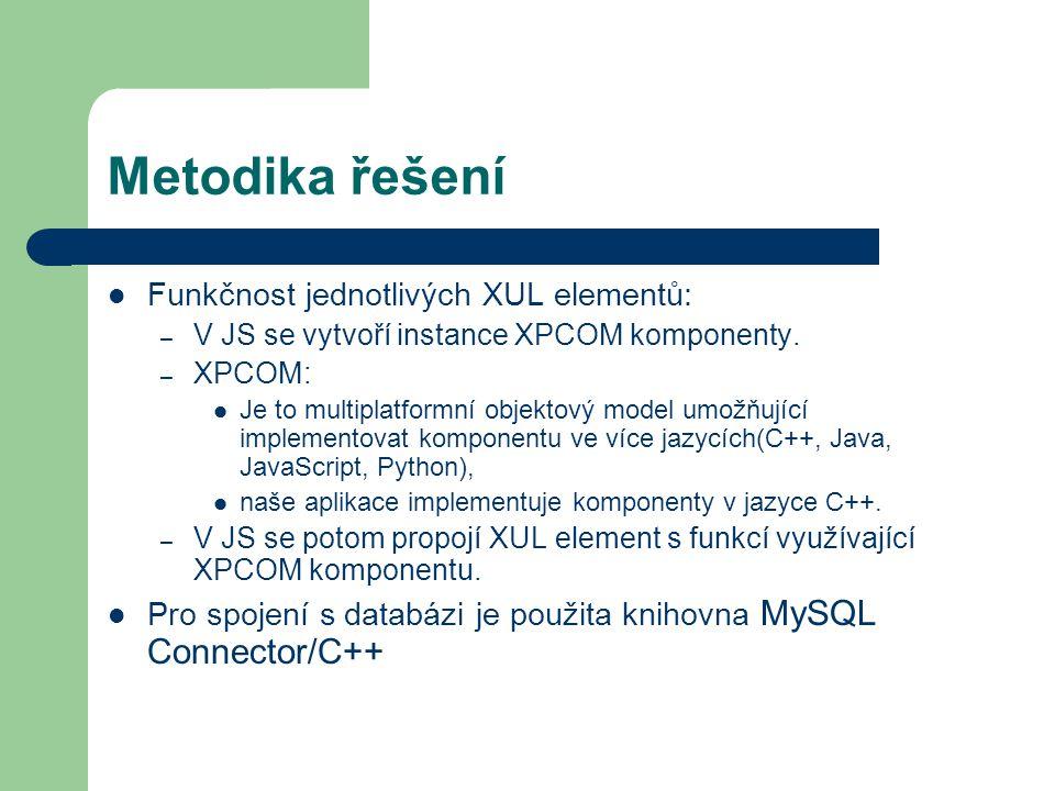 Metodika řešení Funkčnost jednotlivých XUL elementů: – V JS se vytvoří instance XPCOM komponenty.